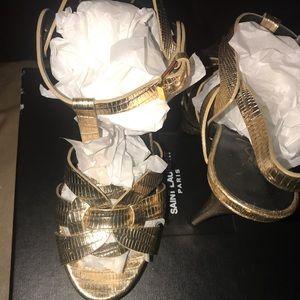 Metallic Gold Saint Laurent Tribute heels